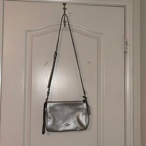 Leather Coach crossbody bag in Silver. New w/o tag